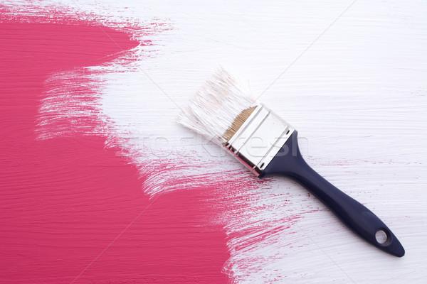 Roze verf jas witte penseel Stockfoto © sarahdoow