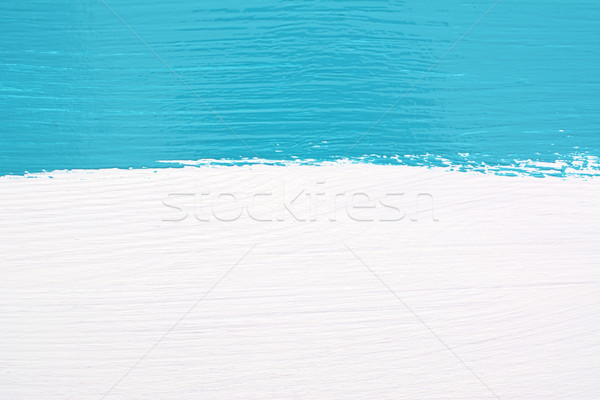 Stripe of teal paint over white wooden background Stock photo © sarahdoow