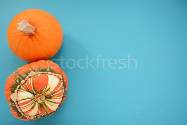 Rijp pompoen tulband squash turkoois exemplaar ruimte Stockfoto © sarahdoow