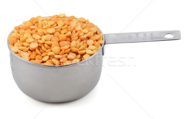 Foto stock: Amarelo · ervilhas · copo · medir · americano · isolado