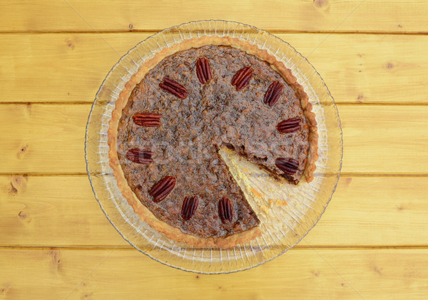 Pecan pie with a slice missing Stock photo © sarahdoow