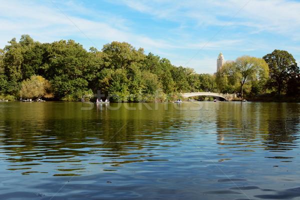 人 湖 セントラル·パーク ローイング ボート 弓 ストックフォト © sarahdoow