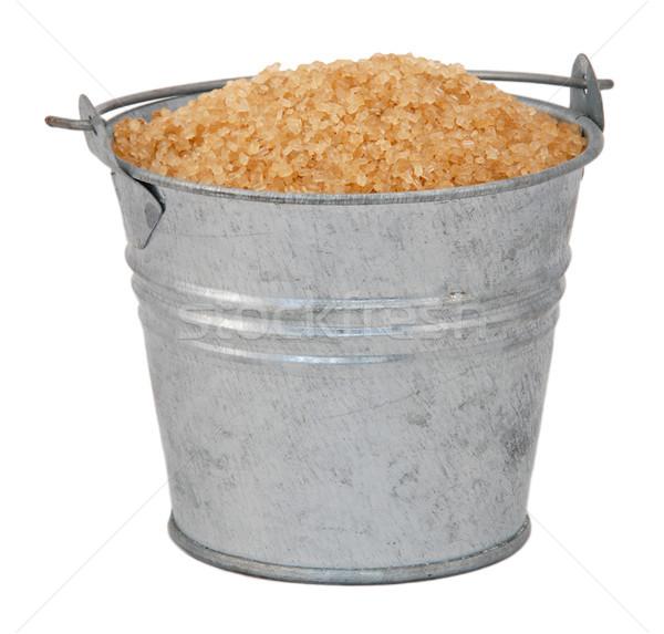 Zdjęcia stock: Cukru · miniatura · metal · wiadro · odizolowany · biały