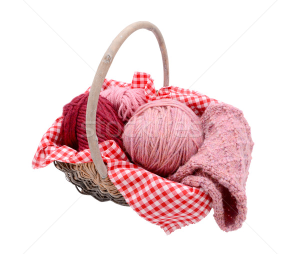 Pink balls of yarn with knitting in a basket Stock photo © sarahdoow