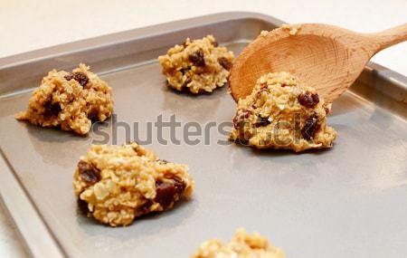 Stock photo: Freshly baked oatmeal raisin cookies