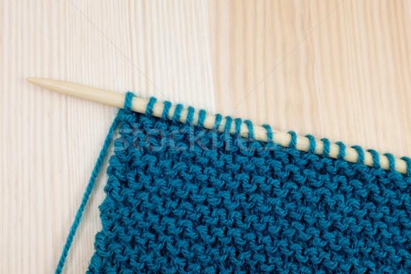 Garter stitch in teal yarn on knitting needle Stock photo © sarahdoow