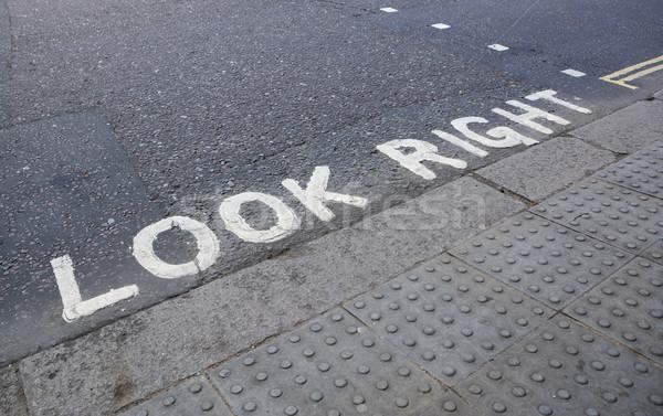 Néz helyes gyalogos festett utasítás út Stock fotó © sarahdoow