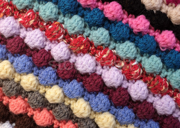 Diagonal stripes of multi-coloured bobble crochet stitches backg Stock photo © sarahdoow