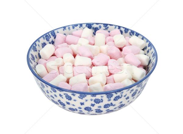 Pink and white mini marshmallows in a blue and white china bowl Stock photo © sarahdoow