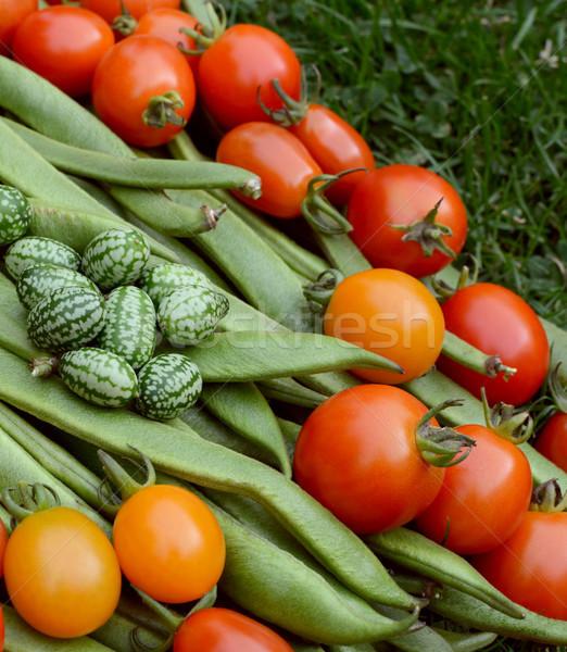 Foto stock: Tomates · corredor · feijões · vermelho · amarelo · verde