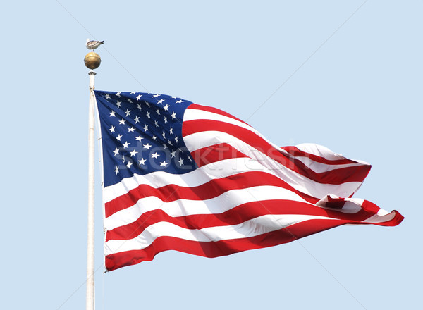The American flag flies on a sunny day against a clear blue sky. Stock photo © sarahdoow