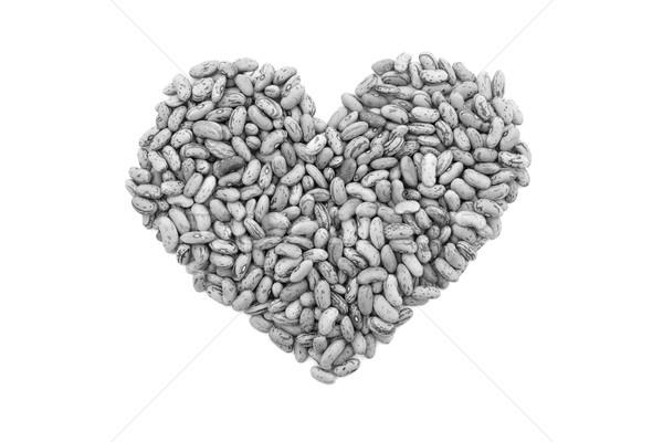 Bonen hartvorm geïsoleerd witte monochroom Stockfoto © sarahdoow