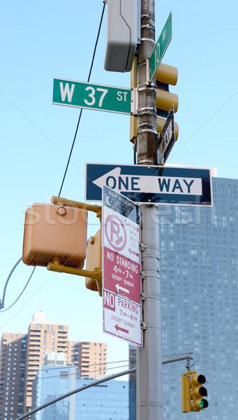 улице признаков Запад коллекция Нью-Йорк светофор Сток-фото © sarahdoow