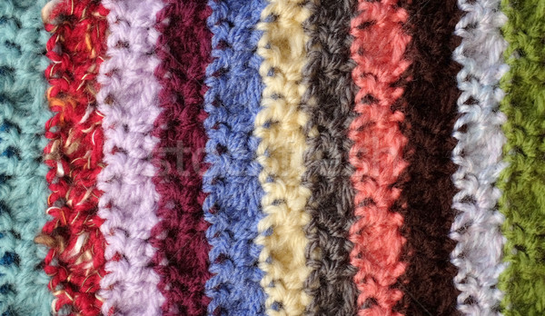 Crocheted yarn stitches in mixed colour stripes background Stock photo © sarahdoow
