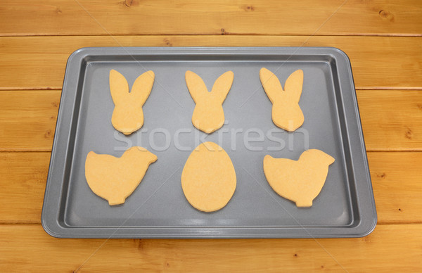 Cookie лоток Печенье Пасху кролик куриного Сток-фото © sarahdoow