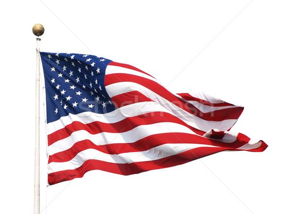 американский флаг флагшток звезды изолированный белый Сток-фото © sarahdoow