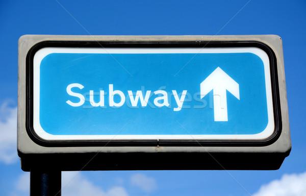 Stockfoto: Blauw · metro · teken · hemel · Londen