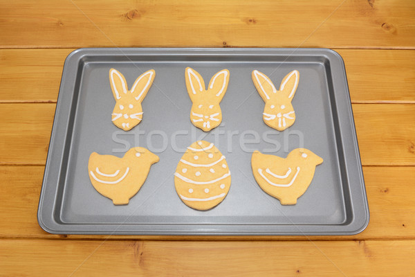 Easter cookies decorated with white frosting Stock photo © sarahdoow