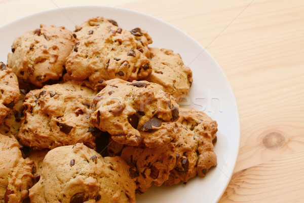 Plate of delicious pecan and chocolate chip cookies Stock photo © sarahdoow