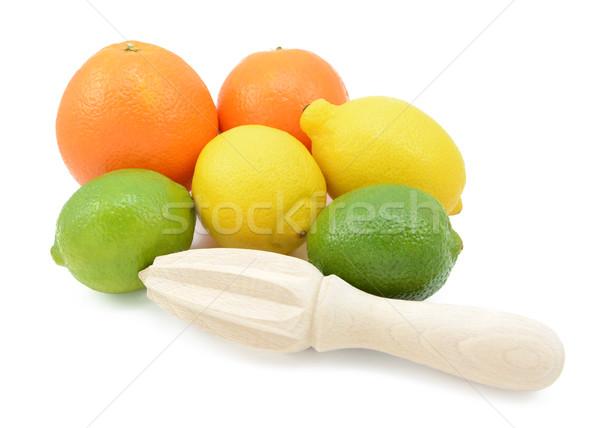 Zes citrus vruchten houten citroenen sinaasappelen Stockfoto © sarahdoow