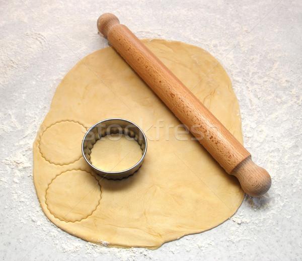 Foto stock: Pino · do · rolo · fresco · fora · círculos
