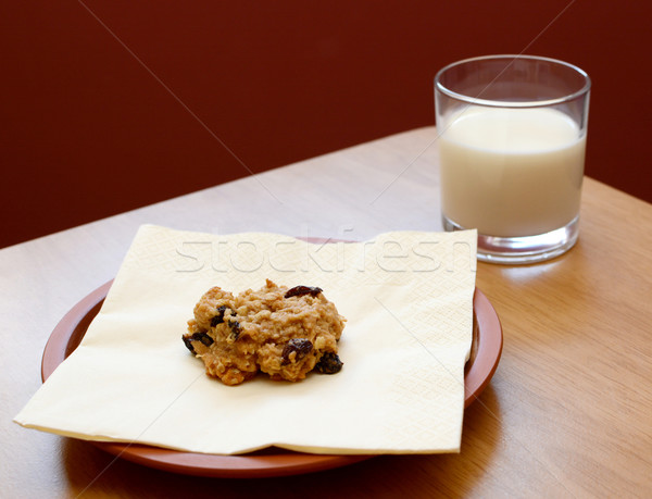 Stock photo: Fresh cookie served with a glass of milk