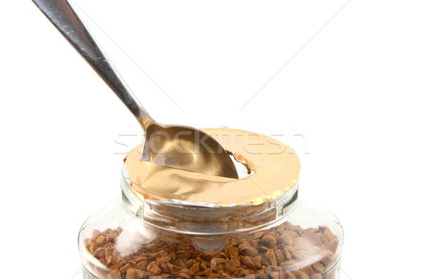 Lyuk bögre kávé teáskanál új instant kávé Stock fotó © sarahdoow