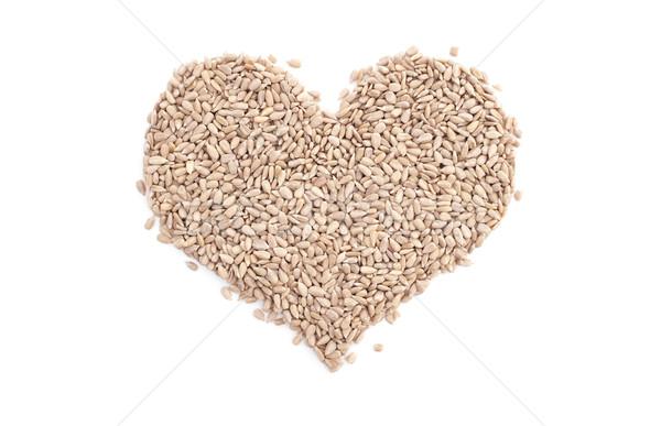 Foto stock: Girasol · corazones · forma · de · corazón · aislado · blanco · corazón