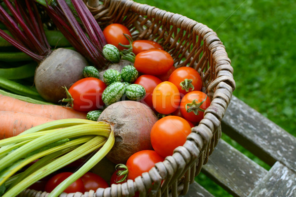 Beetroot, tomatoes, cucamelons and carrots in a wicker basket Stock photo © sarahdoow