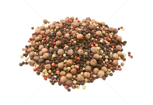 Mixed peppercorns - black, white, pink, green, pimento Stock photo © sarahdoow