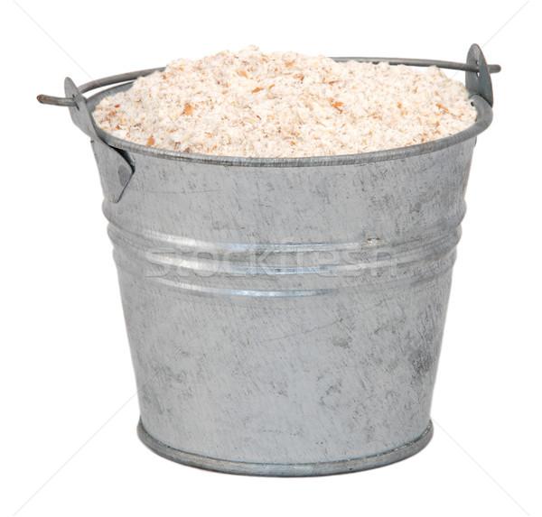 Wholemeal / wheatmeal / brown flour in a miniature metal bucket Stock photo © sarahdoow
