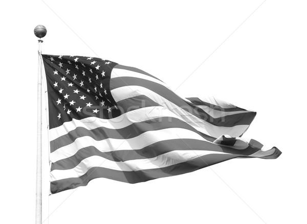Amerikaanse vlag vlaggestok sterren geïsoleerd witte Stockfoto © sarahdoow