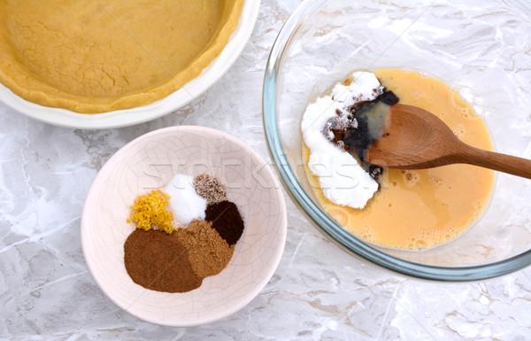 Ingrediënten pompoen taart vulling specerijen ei Stockfoto © sarahdoow