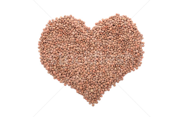 Stock photo: Brown lentils in a heart shape