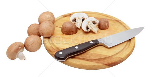 全体 栗 キノコ ナイフ 木板 木製 ストックフォト © sarahdoow
