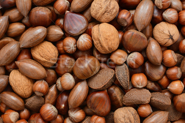 Mixed nuts - chestnuts, pecans, walnuts, brazils and hazelnuts Stock photo © sarahdoow