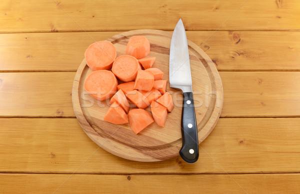 Zoete aardappel gehakt mes stukken scherp Stockfoto © sarahdoow