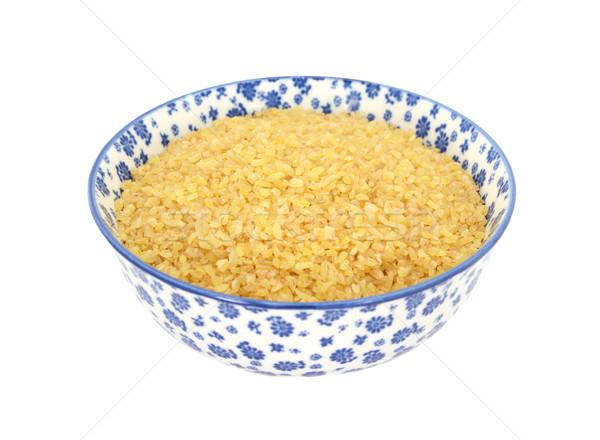 Bulgur wheat in a blue and white china bowl Stock photo © sarahdoow
