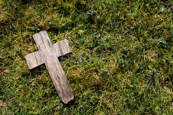 Small cross on grass and moss Stock photo © sarahdoow