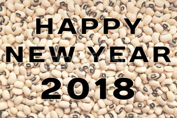Stock fotó: Boldog · új · évet · szöveg · fekete · zöldborsó · írott · aszalt