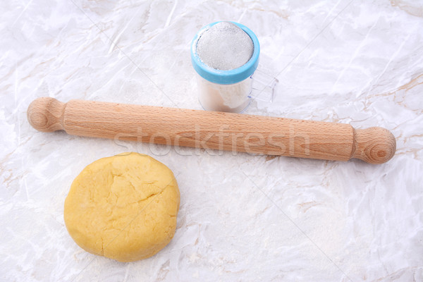 Shortcrust pastry with a rolling pin and flour drifter Stock photo © sarahdoow