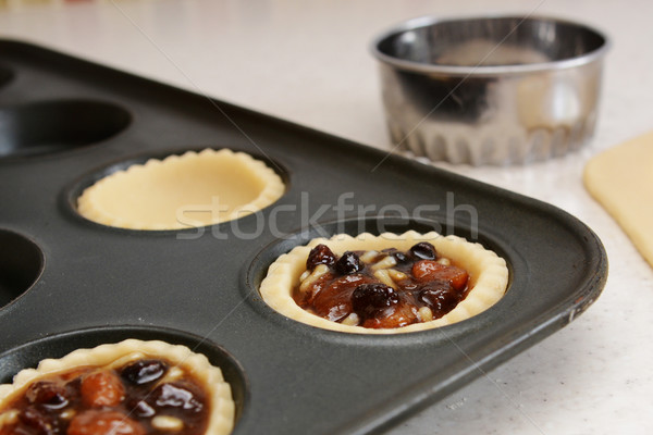 Closeup of pastry case filled with traditional mincemeat Stock photo © sarahdoow