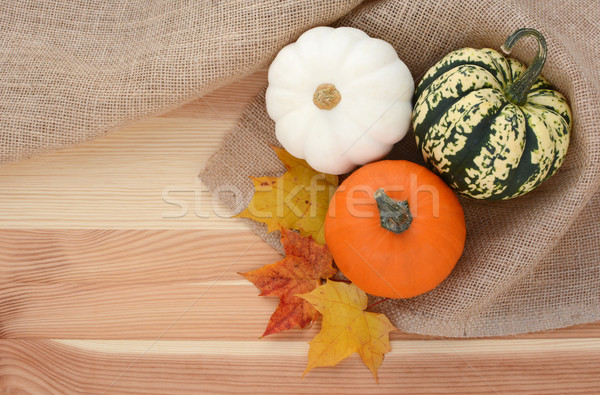 Three autumn gourds with maple leaves  Stock photo © sarahdoow