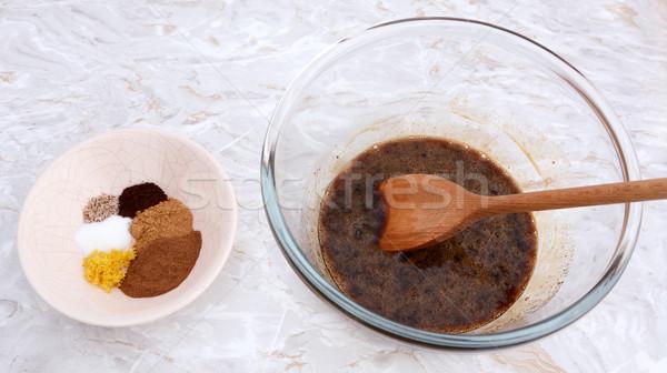 Hozzávalók sütőtök pite fűszer tojás cukor Stock fotó © sarahdoow