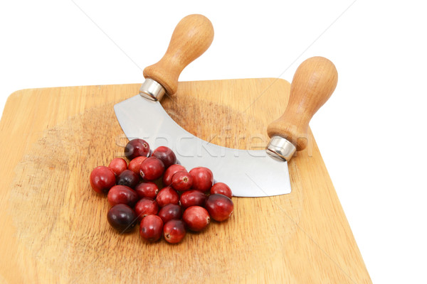 Whole fresh cranberries with a rocking knife Stock photo © sarahdoow