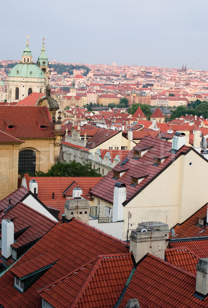 Сток-фото: Прага · город · красный · история · Панорама · башни
