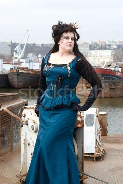 Steampunk model kadın mavi gemi cilt Stok fotoğraf © Sarkao