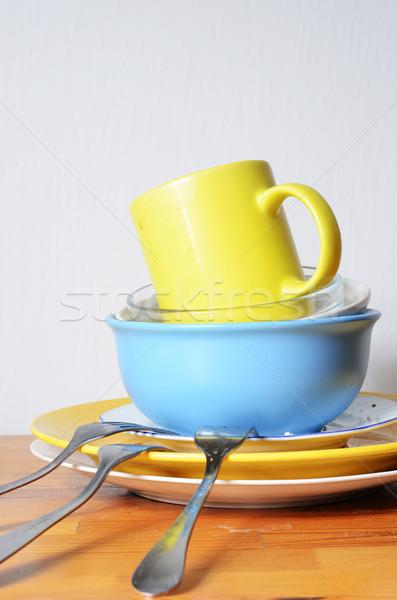 Koszos edények asztal fa kék szín Stock fotó © Sarkao