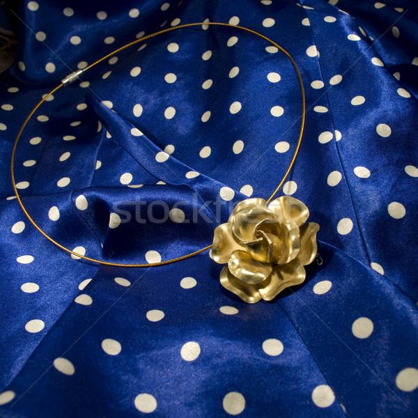 Antique laiton fleur collier mode bleu Photo stock © Sarkao