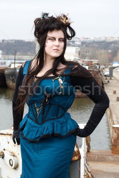Steampunk modelo menina moda navio pele Foto stock © Sarkao